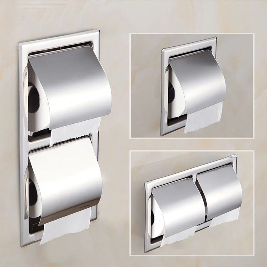 Single/Double Stainless Steel Toilet Paper Box Home Hotel Bathroom Wall-mounted Concealed Roll Paper Holder Rack