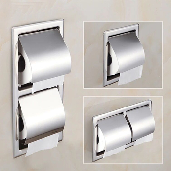 Single/Double Stainless Steel Toilet Paper Box Home Hotel Bathroom Wall-mounted Concealed Roll Paper Holder Rack Tissue box 2016 real toilet paper holder the airport train station public hotel bathroom stainless steel hand towels sassafras box frame