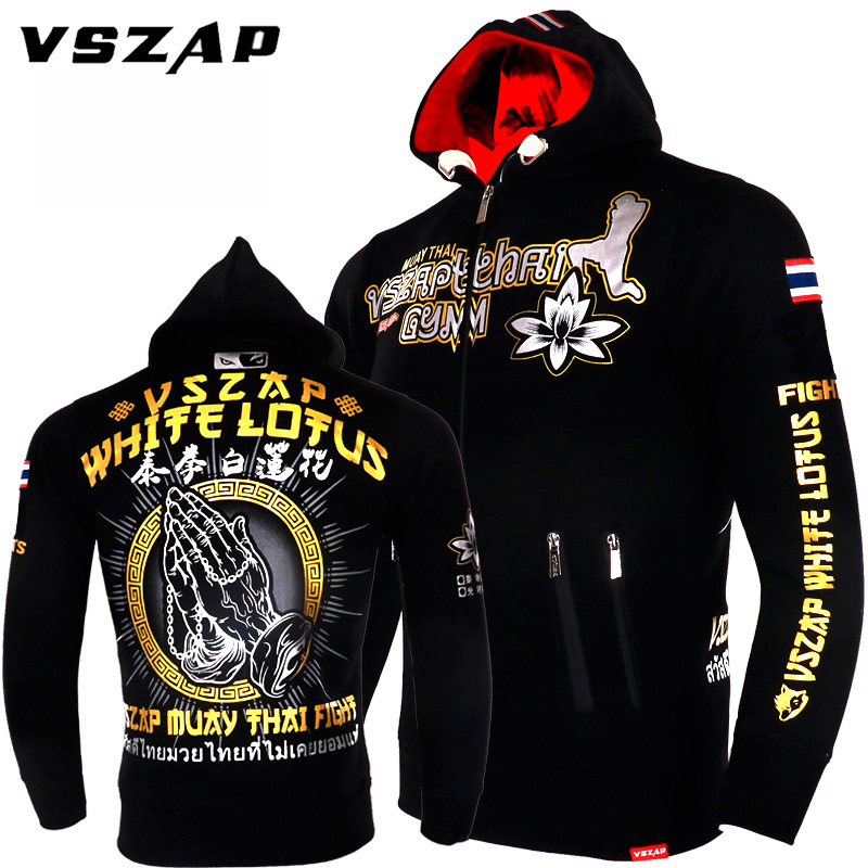 Autumn Men VSZAP Fitness Sweatshirt MUAY THAI Broadcasting Hoodie Muay Thai Fighting Fitness Lotus Printed MMA Zipper Jacket