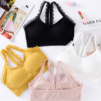 New Lace Beauty Back Bra Thread Wrap-around Strapless Bralette Wire Free Chest Pad Sports Brassiere - discount item  30% OFF Women's Intimates