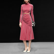 Customized Women's Clothes High End Velvet Stand Collar Draped Elegant Dresses Haute Couture Winter Long Dress(China)