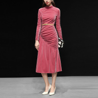 Customized Women's Clothes High End Velvet Stand Collar Draped Elegant Dresses Haute Couture Winter Long Dress