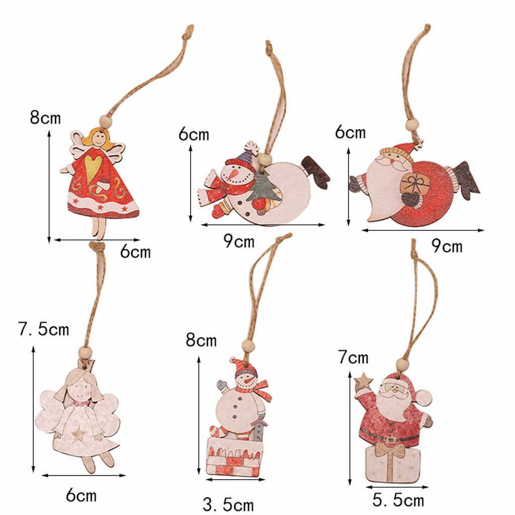 2 Pcs ไม้ซานตาคลอสแขวน Snowman Angel Christmas Tree Showcase หน้าต่างเครื่องประดับตกแต่ง Noel ใหม่ปี Xmas จี้