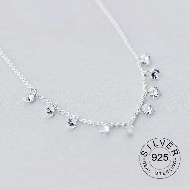 Real. 925 Sterling Silver Round Crystals CZ AAA+ Pendant Statement Station Necklace Sweet