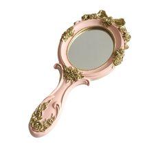 European Style Vintage Handheld Roses Mirror Princess Women Girls Oval Vanity Makeup Cosmetic Tool with Anti-Slip Handle