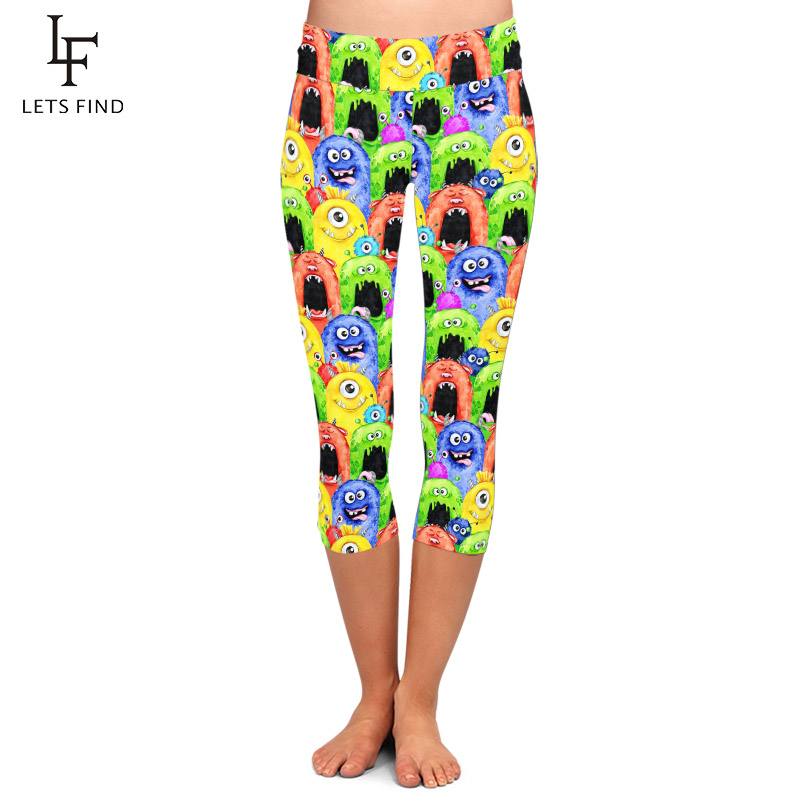 LETSFIND High Quaility 3D Funny Monster Milk Silk Printing Women Capri Leggings Fashion High Waist Plus Size Fitness Leggings