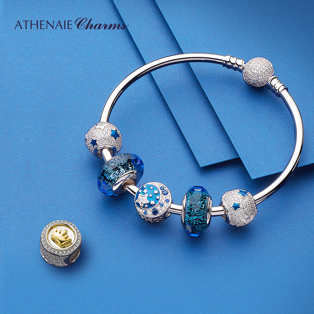 Image 2 - ATHENAIE Authentic 925 Sterling Silver Starry Sky Charms Bracelet Bangles with CZ Charm Beads for Women Christmas Day GiftBracelets & Bangles   -