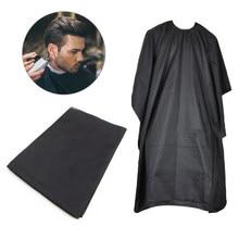Capa negra para peluquería profesional, delantal de tela para barbería, envoltura protectora, bata de corte impermeable, envoltura de tela para el pelo