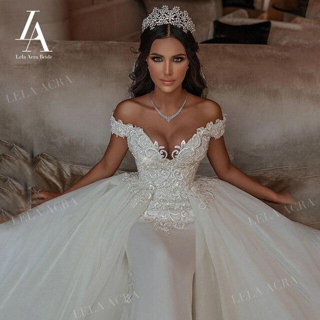 LelaAcra Detachable Train Wedding Dress 2021 Luxury Sweetheart Appliques Bridal Gown Princess SM09 Plus Size Vestido De Novia 1
