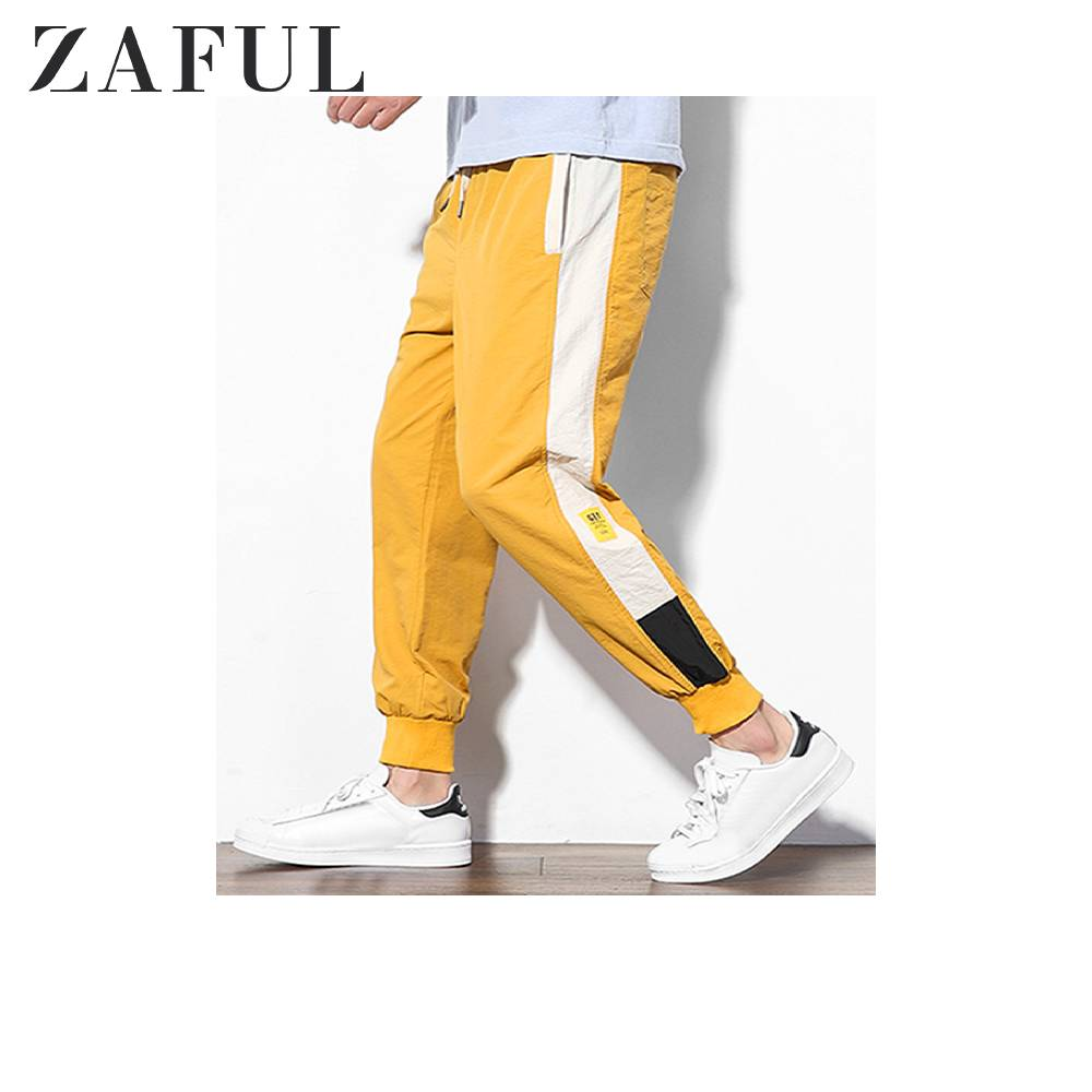 ZAFUL Applique Color Block Panel Casual Jogger Pants For Men Mid Waist Drawstring Nine Minutes Of Pants Beam Feet Spliced Casual