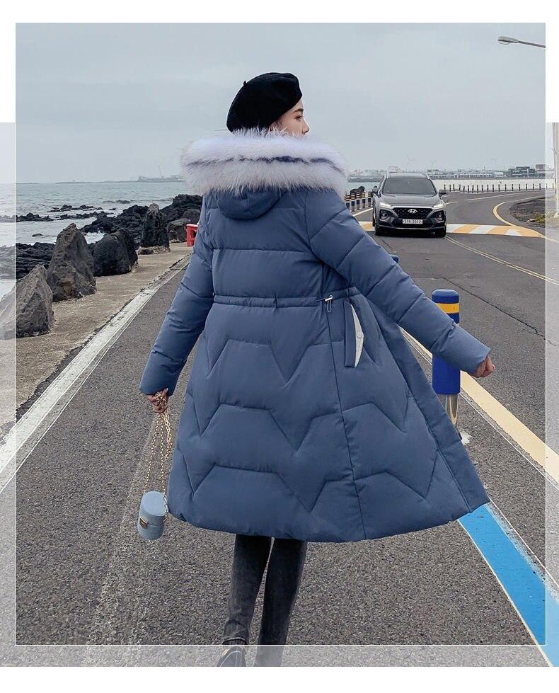 Новинка, стильное хлопковое Женское пальто, большой меховой воротник, средней длины, корейский стиль, приталенное, облегающее, плотное, модное, Cott