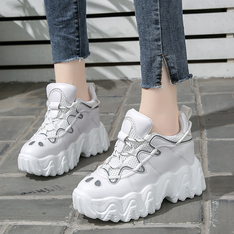 Women Designers Platform Sneakers White Ulzzang Fashion 10cm Height Increasing Wedge Vulcanized Shoes Woman Sports Casual Shoes