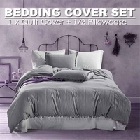 3pcs Luxury Bedding Sets Grey Simple European Brief Modern Solid Printed Duvet Cover sets King Queen Twin Couple Quilt Sheet