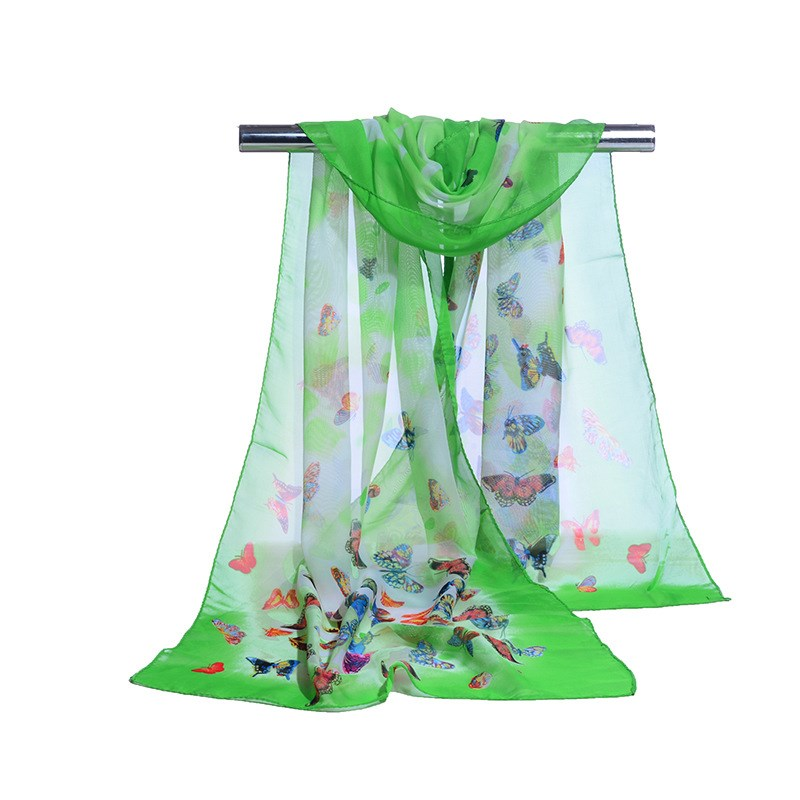 160*50cm Spring And Summer Print Woman Scarf Butterfly Chiffon Leaves Scarf Women Pareo Wrap Sunscreen Long Cape