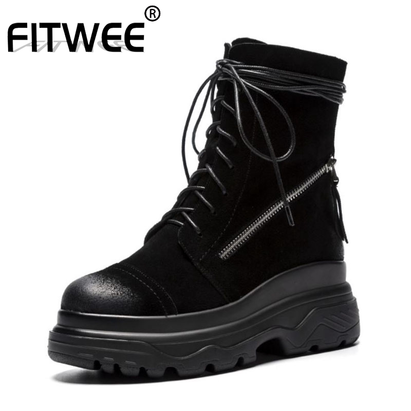 FITWEE Ladies Side Zipper Fashion Genuine Leather Ankle Boots Cross Strap Motorcycle Boots Short Knight Boots Size 34 39