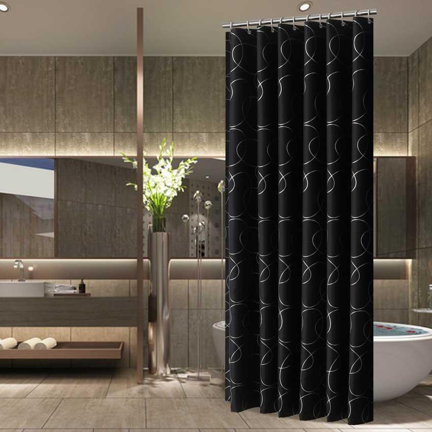 Modern Shower Curtains Geometric Flowers Cartoon Bath Curtain Cortina Waterproof Polyester For Bathroom with 12pcs Plastic Hooks