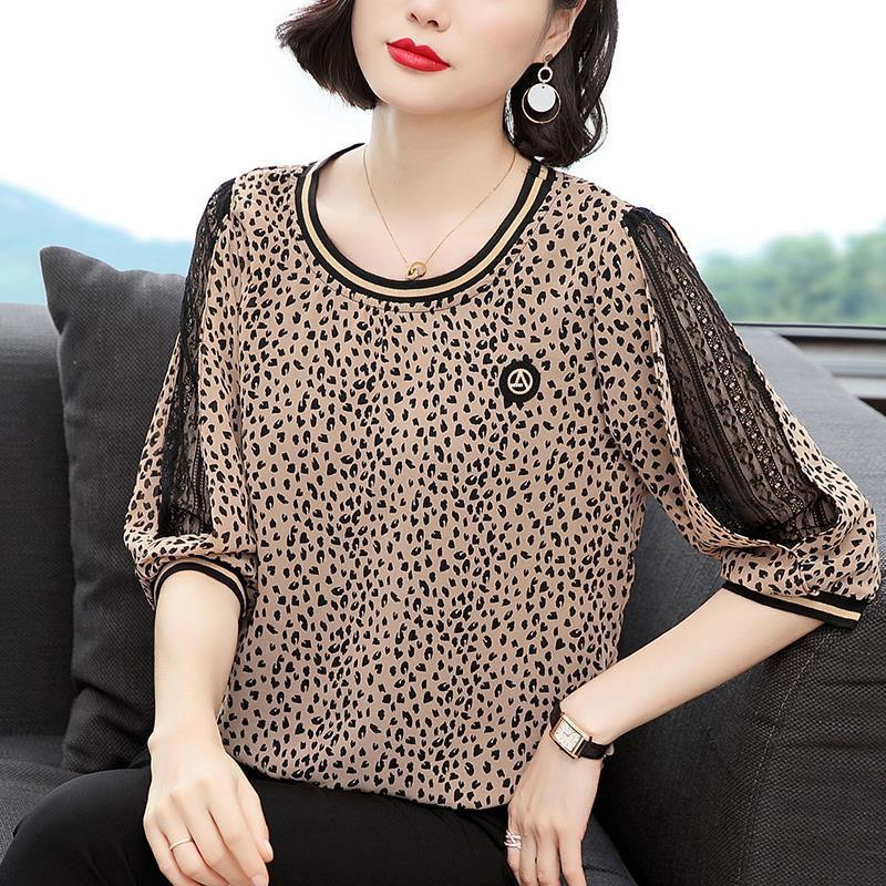 New Women Spring Summer Blouses Shirt Women Casual O-Neck Hollow Out Leopard Blouses Loose Tops High Quality K34 9