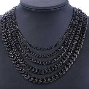 Stainless Steel Chains Necklace for Men Black Silver Gold Mens Necklace Curb Cuban Davieslee