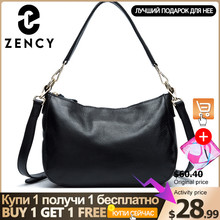 Zency moda siyah kadın omuzdan askili çanta 100% hakiki deri çanta zarif bayan Crossbody Messenger çanta küçük bez çantalar Hobos
