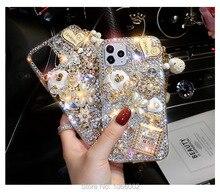 Luxus 3D Geldbörse Blumen Cinderella Wagen Bling Fall für iPhone 12 Mini 11 Pro MAX XS Max XR XS X 6 6s 8 7 Plus 5 5s SE 2020