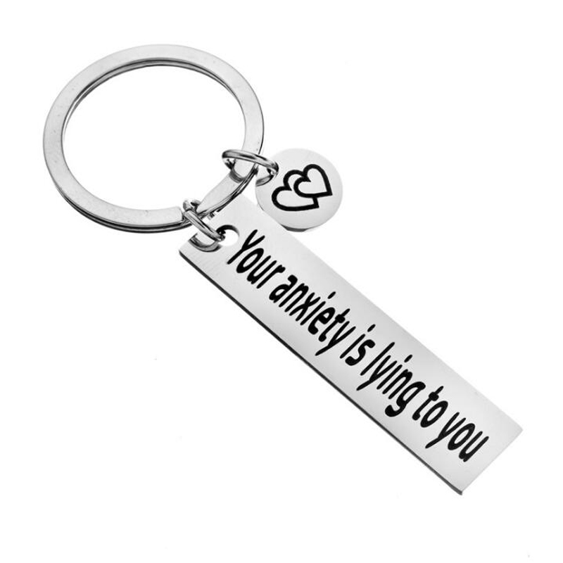 Anxiety Relief Jewelry, Depression, Self Care, Mental Health, Zen,Stress, Mindfulness Gift Your Anxiety Is Lying To You Keychain