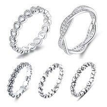 WOSTU Vendita Calda 925 Sterling Silver 9 Stili Impilabile Dell'anello di Barretta Del Partito Per Le Donne Originale Gioielleria Raffinata Regalo FB7151
