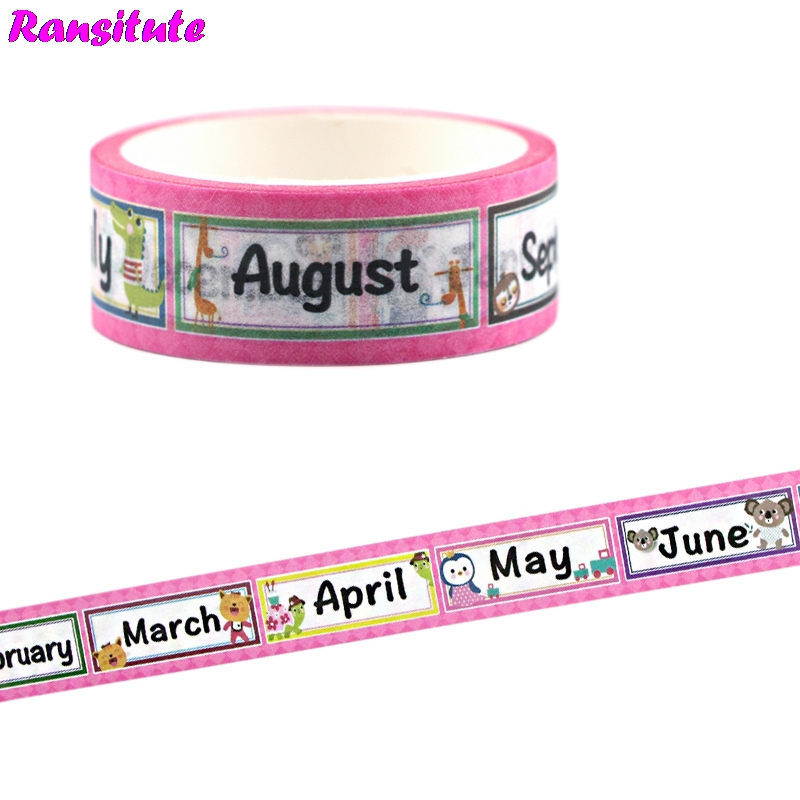 Ransitute Month Washi Tape Color DIY Hand Ledger Decoration Removable Masking Tape Children's Toy Stickers R701