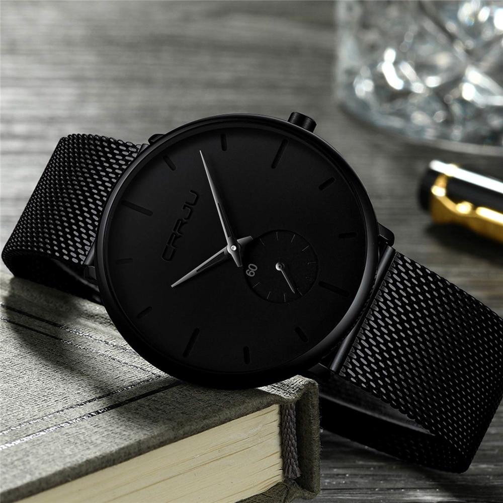 H4ef675924b1b4a8e975eae67c7c7d82dl CRRJU Ultra Thin Blue Stainless steel Quartz Watches Men Simple Fashion Business Japan Wristwatch Clock Male Relogio Masculino