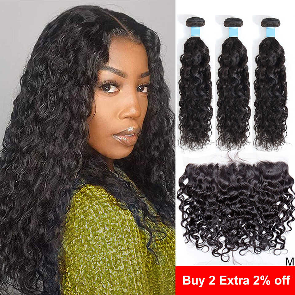 Frontal With Bundles Water Wave Bundles with Frontal 13x6 Lace Frontal and Bundles Wet and Wavy Human Hair Bundles with Frontal