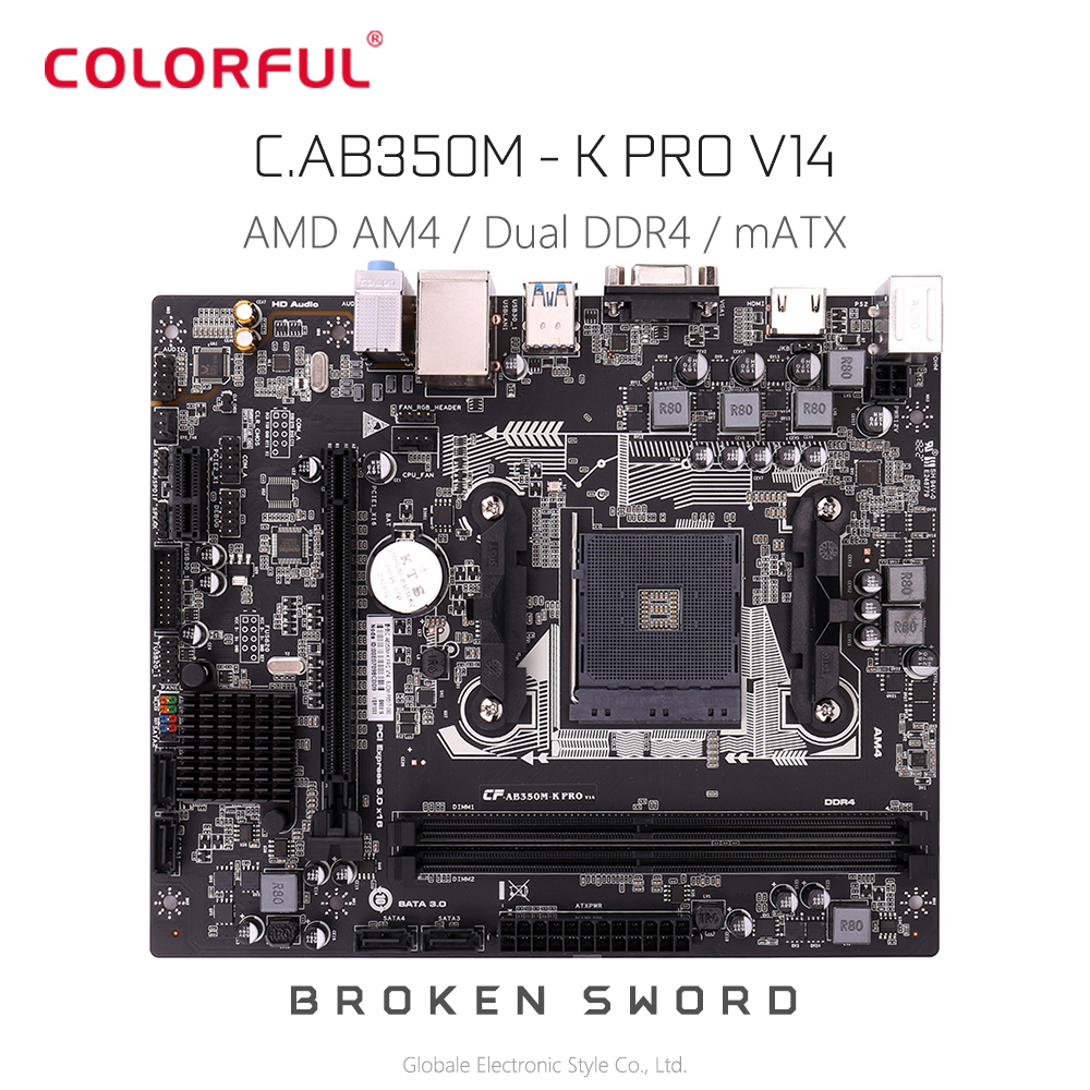 Original Colorful C AB350M - K PRO V14 Motherboard M ATX For AMD AM4 Socket Processor Dual Channel DDR4 SATA3.0 USB3.0 HMDI VGA