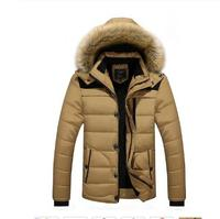 BZBFSKYWinter Warm Men's Fur Collar Cotton Parkas Baggy Classic Fashion Travel College Jackets Male Casual Thick Outerwear Coat