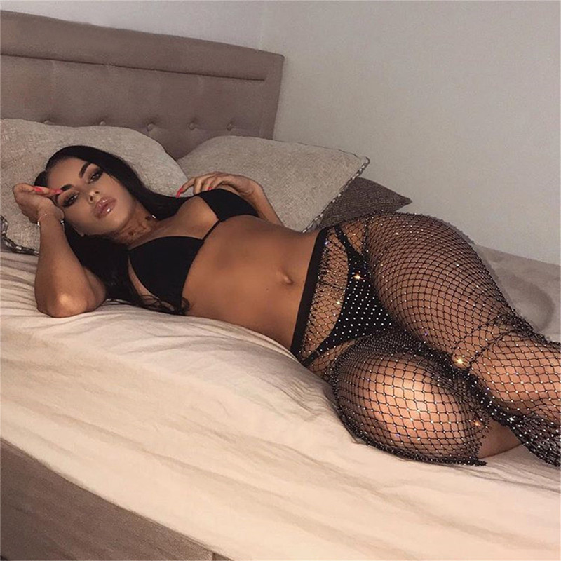 Bling Diamonds Fishnet Hollow Out Side Slit Skirt See Through Elastic Waist Skirt Women Sexy Clubwear Beach Cover Up Skirts