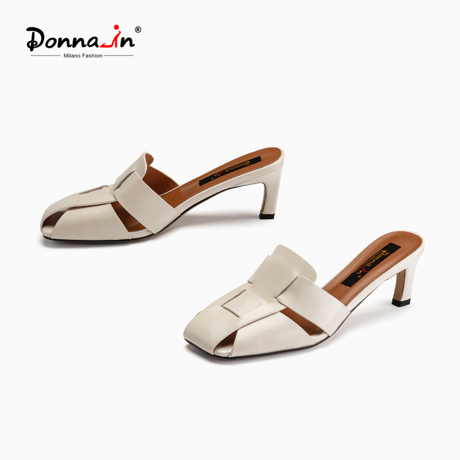 Donna-in 2021 New Fashion Mules Women Covered Square Toe Luxury Genuine Leather Weave High Heel Ladies Sandals Designer Elegant