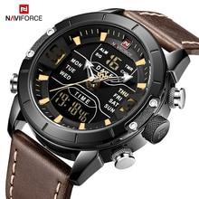 NAVIFORCE zegarek mężczyźni marka luksusowa moda kwarcowe zegarki męskie wodoodporny Sport cyfrowy zegarek LED zegar Relogio Masculino