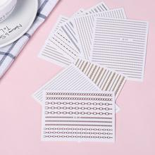 3PCS Rose Gold Silver 3D Nail Sticker Curve Stripe Lines Nails Stickers Adhesive Striping Tape Nail Art Stickers Decals
