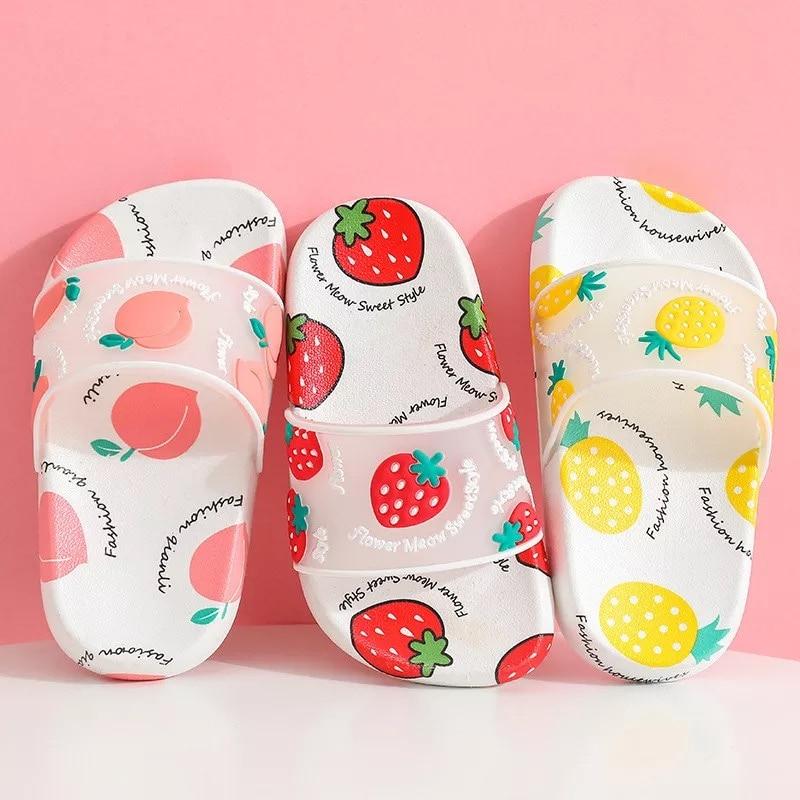Summer Slippers Kids Indoor Slippers Cartoon Fruit Strawberry Girl Flip Flop Slide Sandals Beach Children Home Floor Shoes