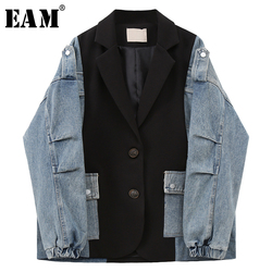 [EAM] Frauen Blau Tasche Denim Split Große Größe Blazer Neue Revers Lange Hülse Lose Fit Jacke Mode Frühling herbst 2020 1U356