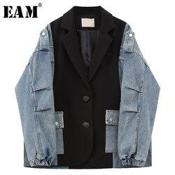 [EAM]  Women Blue Pocket Denim Split Big Size Blazer New Lapel Long Sleeve Loose Fit  Jacket Fashion Spring Autumn 2020 1U356