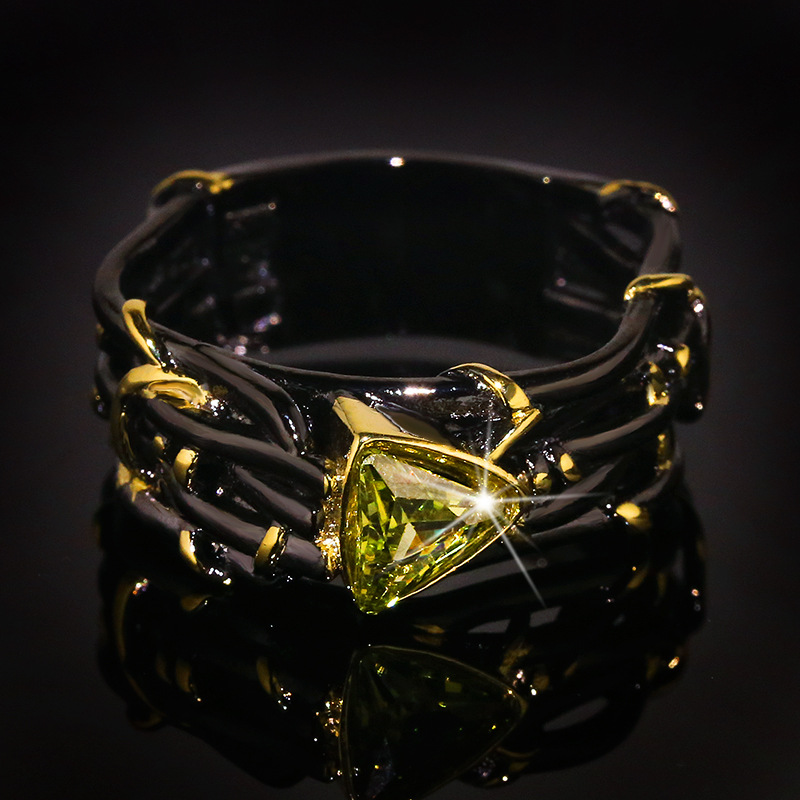 Vintage Gothic Black Tree Branch Ring with Bling Yellow Zircon Stone Rings for Women Wedding Engagement Fashion Jewelry