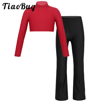 Jesienne dziewczyny z długimi rękawami taniec ubrania 2 zestaw Pc Top z golfem spodnie do tańca jazzowego dzieci występ na scenie Dancewear tanie i dobre opinie TiaoBug CN (pochodzenie) Pasuje prawda na wymiar weź swój normalny rozmiar Stałe Oddychające 10141394 MANDARIN COLLAR