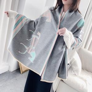 Image 3 - 冬のスカーフの女性デザインショール暖かい女性パシュミナカシミアスカーフショールスカーフ厚い毛布馬動物ラップバンダナ 2020 新