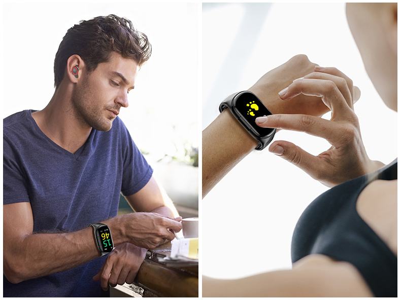 Smart band with bluetooth earbuds