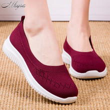 2020 Women Flat Shoes Knit Woman Casual