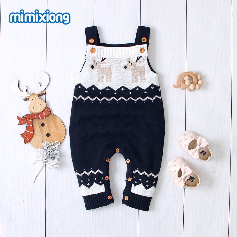 Baby Girl Christmas Clothes Autumn Casual Sleeveless Newborn Bebes Boys   Rompers   One Piece Toddler Kids Jumpsuits Knitted Outfits