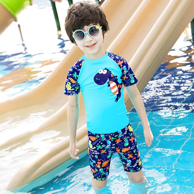 KID'S Swimwear Big Boy Swimsuit For Boys Split Type Boxer Baby Swimming Cap Swimming Trunks Students Hot Springs Tour Bathing Su