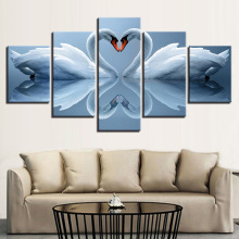 Painting Home Decor Modular Picture 5 Panel White Swan Couples Canvas Framework Wall Art Prints Poster For Living Room NO Frame