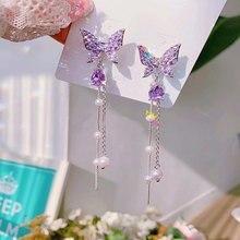 MENGJIQIAO-Pendientes colgantes largos diseño mariposa para mujer, aretes, estrás, cristales brillantes, perlas sintéticas, borlas, elegante, fiesta, moda coreana, 2020