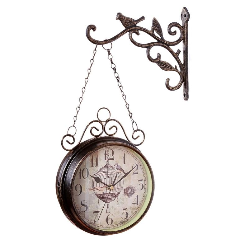 Antique Outdoor Garden Wall Station Clock Double Sided Cockerel Vintage Retro Home Decor