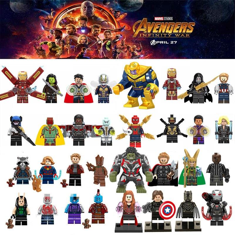 Captain Marvel Spiderman Avengersing Endgame Figures War Machine Thanos Iron Man Black Widow Building Blocks Toys For children