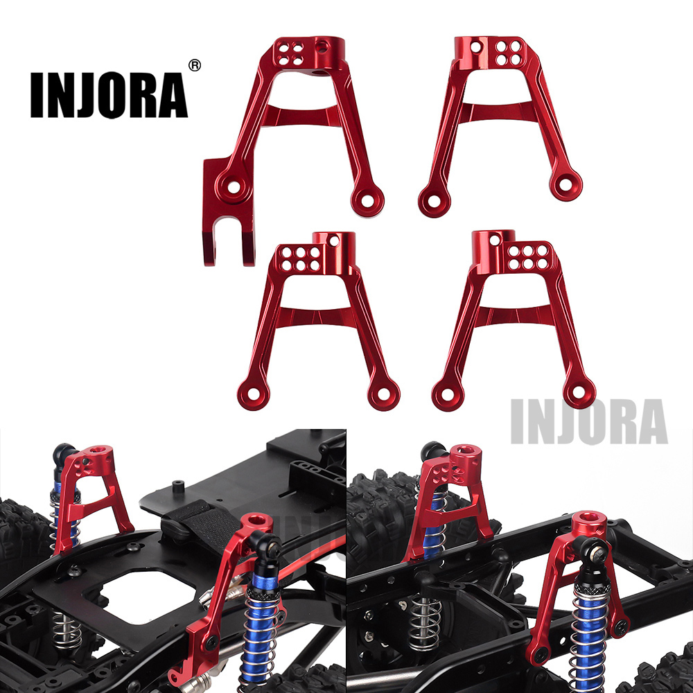 Image 2 - INJORA 4PCS RC Car CNC Aluminum Shock Damper Towers Mount for 1/10 RC Crawler SCX10 II 90046 90047Parts & Accessories   -